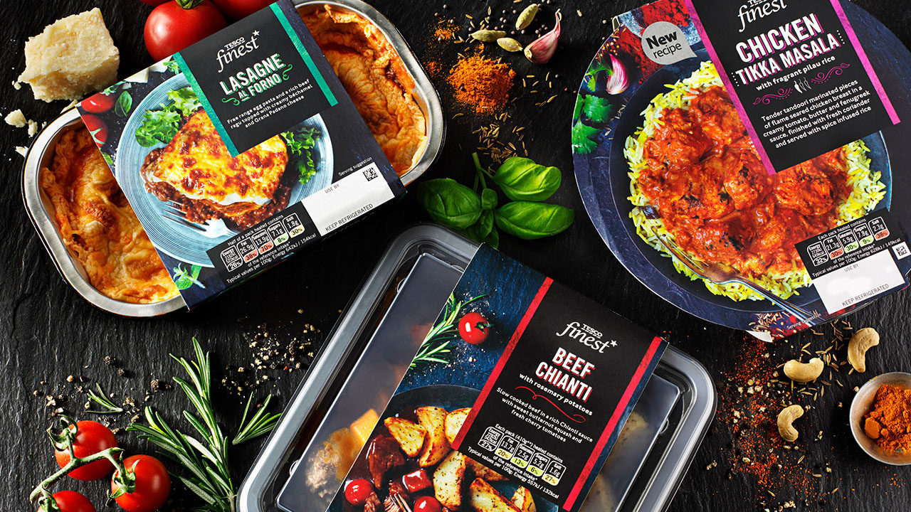 Tesco Finest Ready Meals redesign and rebrand