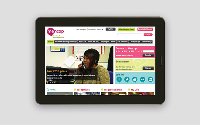 Mencap rebranded website design