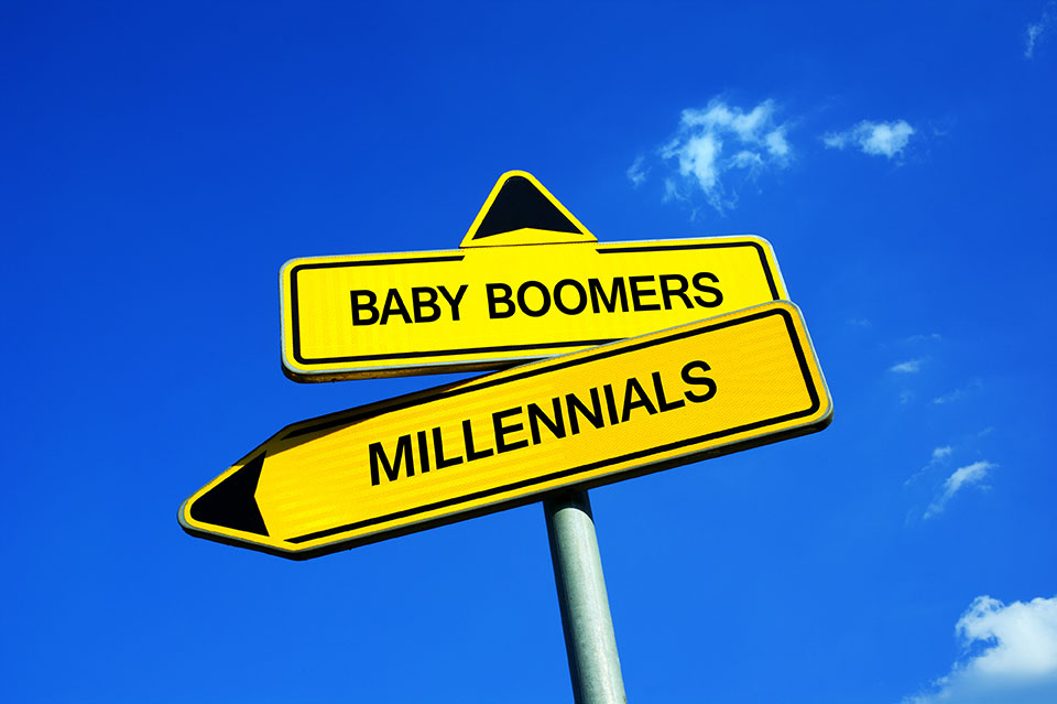 Baby Boomers vs Millennial's Sign Board