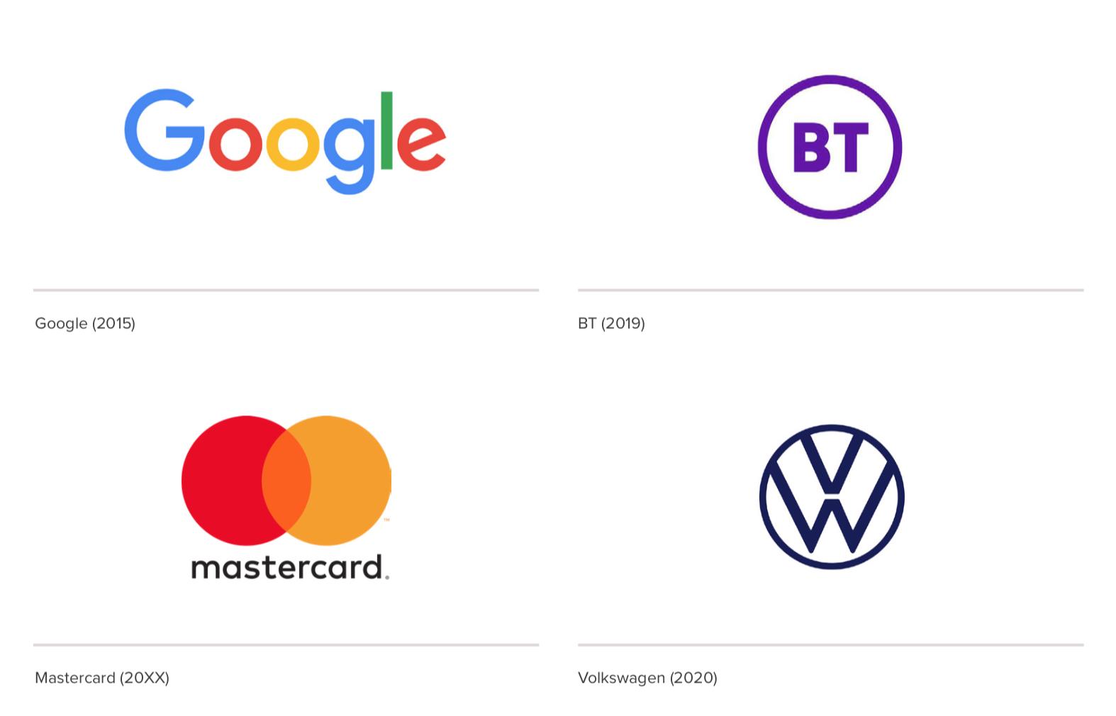 logos: google BT mastercard volkswagen